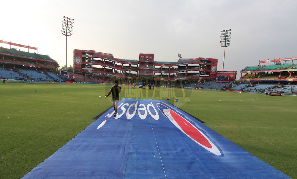 Pepsi logo on ground during match 26 of the Pepsi Indian Premier League Season 2014 between the Delhi Daredevils and the Chennai Superkings held at the Ferozeshah Kotla cricket stadium, Delhi, India on the 5th May  2014<br /> <br /> Photo by Arjun Panwar / IPL / SPORTZPICS<br /> <br /> <br /> <br /> Image use subject to terms and conditions which can be found here:  http://sportzpics.photoshelter.com/gallery/Pepsi-IPL-Image-terms-and-conditions/G00004VW1IVJ.gB0/C0000TScjhBM6ikg