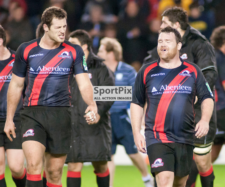 Tim Visser (left) and Allan Jacobson celebrate there dramatic win, Edinburgh Rugby v Racing Metro