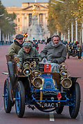 A 1901 Mors, Passing Buckinham Palace and the Mall - Bonhams London to Brighton Veteran Car Run celebrates the 122nd anniversary of the original Emancipation Run of 1896 which celebrated the passing into law the Locomotives on the Highway Act so raising the speed limit for 'light automobiles' from 4mph to 14mph and abolishing the need for a man to walk in front of all vehicles waving a red flag. The Movember Foundation as our Official Charity Partner.