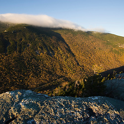 The view across Grafton Notch from Table Rock in Maine's Grafton Notch State Park.  The summit of Old Speck Mountain is obscured by clouds.