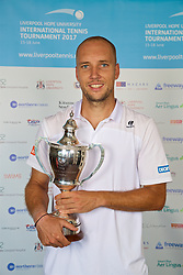 LIVERPOOL, ENGLAND - Sunday, June 18, 2017: Men's Champion Steve Darcis (BEL) with the trophy during Day Four of the Liverpool Hope University International Tennis Tournament 2017 at the Liverpool Cricket Club. (Pic by David Rawcliffe/Propaganda)