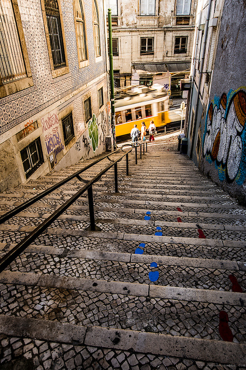 Yellow tram in Calçada do Combro. Lisbon, Portugal