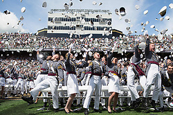 May 27, 2017 - West Point, NY, United States of America - Members of the U.S. Military Academy Class of 2017 toss their hats into the air at the conclusion of their graduation ceremony at Michie Stadium May 27, 2017 in West Point, New York. Nine hundred thirty-six cadets received their diplomas during the ceremony. (Credit Image: © Vito T. Bryant/Planet Pix via ZUMA Wire)