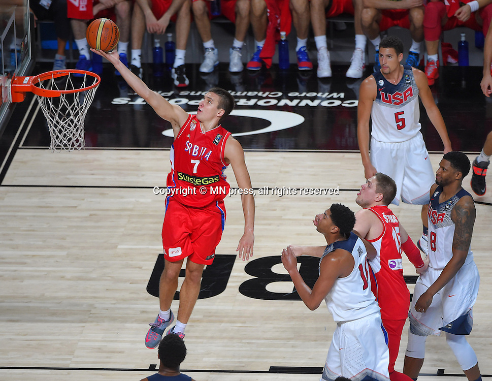 BOGDAN BOGDANOVIC of Serbia basketball team in action during Final FIBA World cup match against  United states of America , Madrid, Spain Photo: MN PRESS PHOTO<br /> Basketball, Serbia, United states of America, Final, FIBA World cup Spain 2014