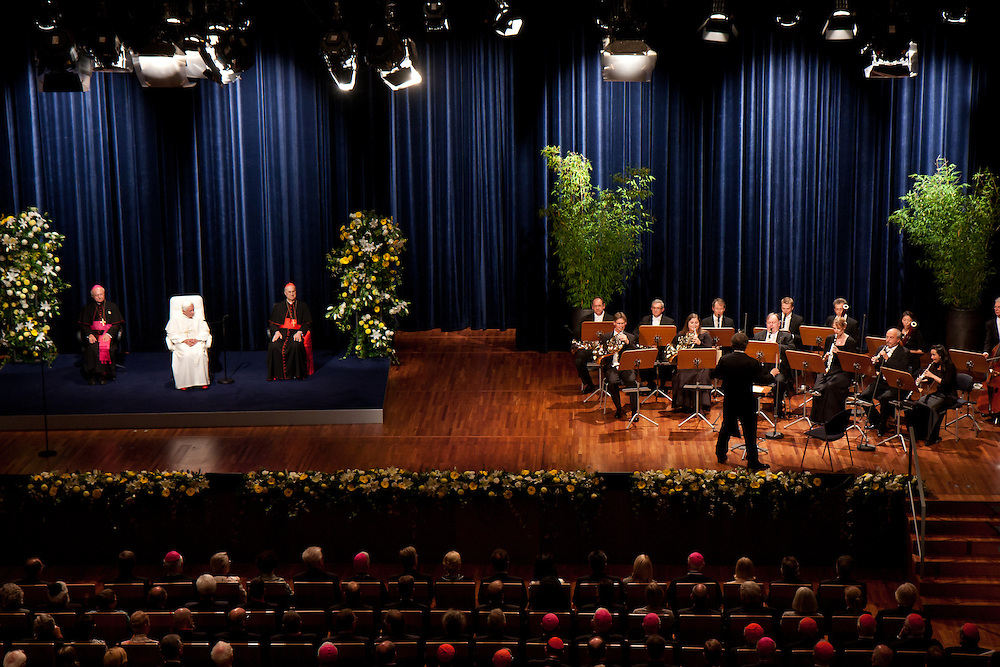 Freiburg, Germany. September 25, 2011. Pope Benedikt XVI enjoys a Mozart concert  at the Concert House in Freiburg during his visit on Sunday. Photo: Miroslav Dakov