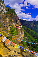 Prayer flags at Taktshang Monastery (Tiger's Nest), Paro Valley, Bhuta