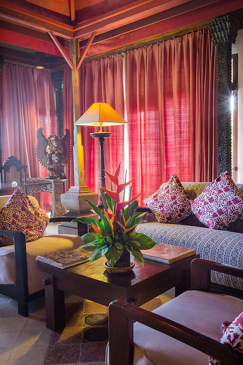 Puri Le Mayeur Suite, a spacious single story villa floating above a lotus pond, it has a private plunge pool, an open-air dining pavilion, a beautiful semi open air oversized hand-beaten copper tub and a veranda.