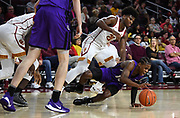 Nov 8, 2019; Los Angeles, CA, USA;  Portland Pilots guard Chase Adams (10) and Southern California Trojans guard Ethan Anderson (20) battle for the ball in the second half at Galen Center USC defeated Portland State 76-65.