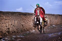 Arriving by donkey, Tamaslouht, Morocco.