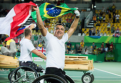 Stephane Houdet (LR and Nicolas Peifer of France celebrate after winning against Alfie Hewett (out of frame) and Gordon Reid (out of frame) of the UK in the Tennis Men's Doubles Gold Medal Match during Day 8 of the Rio 2016 Summer Paralympics Games on September 15, 2016 in Olympic Tennis Centre, Rio de Janeiro, Brazil. Photo by Vid Ponikvar / Sportida