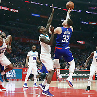 31 December 2017: LA Clippers forward Blake Griffin (32) goes for the jump shot against Charlotte Hornets forward Marvin Williams (2) during the LA Clippers 106-98 victory over the Charlotte Hornets, at the Staples Center, Los Angeles, California, USA.