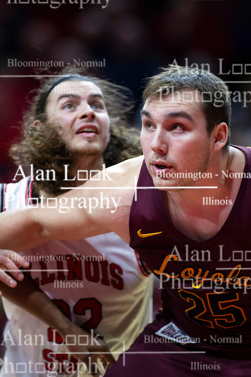 NORMAL, IL - January 19: Matt Chastain and Cameron Krutwig during a college basketball game between the ISU Redbirds and the Loyola University Chicago Ramblers on January 19 2020 at Redbird Arena in Normal, IL. (Photo by Alan Look)