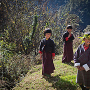 Children from villages in central Bhutan, Trongsa, Bhutan, Asia