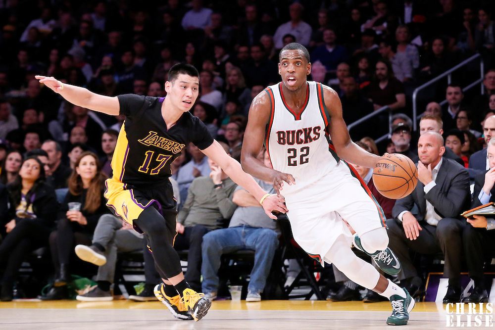 27 February 2015: Milwaukee Bucks guard Khris Middleton (22) drives past Los Angeles Lakers guard Jeremy Lin (17) during the Los Angeles Lakers 101-93 victory over the Milwaukee Bucks, at the Staples Center, Los Angeles, California, USA.