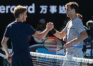 DAVID GOFFIN (BEL) gratuliert dem Sieger GRIGOR DIMITROV (BUL)<br /> <br /> Australian Open 2017 -  Melbourne  Park - Melbourne - Victoria - Australia  - 25/01/2017.