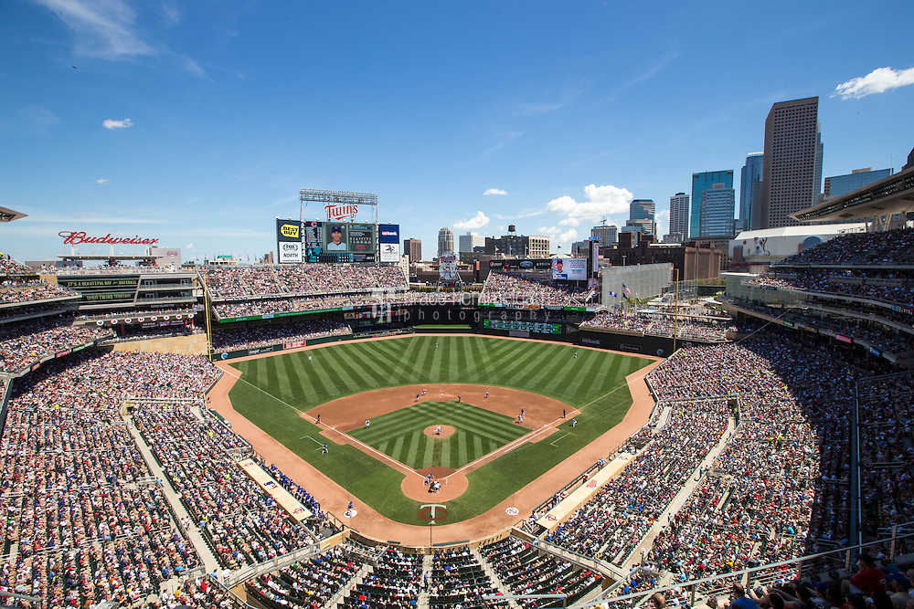 MINNEAPOLIS, MN- JUNE 21: A general view of Target Field during a game between the Minnesota Twins and the Chicago Cubs on June 21, 2015 in Minneapolis, Minnesota. The Cubs defeated the Twins 8-0. (Photo by Brace Hemmelgarn) *** Local Caption ***