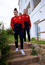 ALHAURÍN EL GRANDE, SPAIN - TUESDAY, MARCH 5, 2019: Wales' Angharad James and Charlie Estcourt during a pre-match team walk at the at Alhaurin Golf Resort in Spain. (Pic by David Rawcliffe/Propaganda)