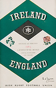Irish Rugby Football Union, Ireland v England, Five Nations, Landsdowne Road, Dublin, Ireland, Saturday 9th February, 1963,.9.2.1963, 2.9.1963,..Referee- H B Laidlaw, Scottish Rugby Union, ..Score- Ireland 0 - 0 England, ..Irish Team, ..B D E Marshall, Wearing number 15 Irish jersey, Full Back, Queens University Rugby Football Club, Belfast, Northern Ireland,..W R Hunter, Wearing number 14 Irish jersey, Right Wing, C I Y M S Rugby Football Club, Belfast, Northern Ireland, ..J C Walsh,  Wearing number 13 Irish jersey, Right Centre, University college Cork Football Club, Cork, Ireland,..P J Casey, Wearing number 12 Irish jersey, Left Centre, University College Dublin Rugby Football Club, Dublin, Ireland, ..N H Brophy, Wearing number 11 Irish jersey, Left wing, Blackrock College Rugby Football Club, Dublin, Ireland, ..M A English, Wearing number 10 Irish jersey, Stand Off, Landsdowne Rugby Football Club, Dublin, Ireland, ..J C Kelly, Wearing number 9 Irish jersey, Scrum Half, University College Dublin Rugby Football Club, Dublin, Ireland,..R J McLoughlin, Wearing number 1 Irish jersey, Forward, Blackrock College Rugby Football Club, Dublin, Ireland, ..A R Dawson, Wearing number 2 Irish jersey, Forward, Wanderers Rugby Football Club, Dublin, Ireland, ..S Millar, Wearing number 3 Irish jersey, Forward, Ballymena Rugby Football Club, Antrim, Northern Ireland,..W A Mulcahy, Wearing number 5 Irish jersey, Captain of the Irish team, Forward, Bective Rangers Rugby Football Club, Dublin, Ireland,  ..W J McBride, Wearing number 5 Irish jersey, Forward, Ballymena Rugby Football Club, Antrim, Northern Ireland,..E P McGuire, Wearing number 6 Irish jersey, Forward, University college Galway Football Club, Galway, Ireland,..C J Dick, Wearing number 8 Irish jersey, Forward, Ballymena Rugby Football Club, Antrim, Northern Ireland,..M D Kiely, Wearing number 7 Irish jersey, Forward, Landsdowne Rugby Football Club, Dublin, Ireland, ..English Team, ..J G Willcox, Wearing number 15 Englis
