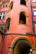 Courtyard and staircase at the Long Traboule in old town Vieux Lyon, France (UNESCO World Heritage Site)