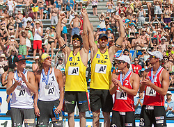 04.08.2013, Klagenfurt, Strandbad, AUT, A1 Beachvolleyball EM 2013, Finale Herren, Spiel 72, im Bild Janis Smedins 2 LAT, Alexandrs Smoilovs 1 LAT, Pablo HERRERA 1 ESP / Adrián GAVIRA Collado 2 ESP, Grzegorz FIJALEK 2 POL, Mariusz PRUDEL 1 POL <br /> // during Final match 72 of the A1 Beachvolleyball European Championship at the Strandbad Klagenfurt, Austria on 2013/08/04. EXPA Pictures © 2013, EXPA Pictures © 2013, PhotoCredit: EXPA/ Mag. Gert Steinthaler