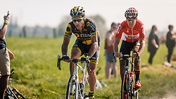 CHAVANEL Sylvain of Direct Energie leading during the 115th Paris-Roubaix (1.UWT) from Compiègne to Roubaix (257 km) at cobblestones sector 17 from Hornaing to Wandignies, France, 9 April 2017. Photo by Pim Nijland / PelotonPhotos.com | All photos usage must carry mandatory copyright credit (Peloton Photos | Pim Nijland)