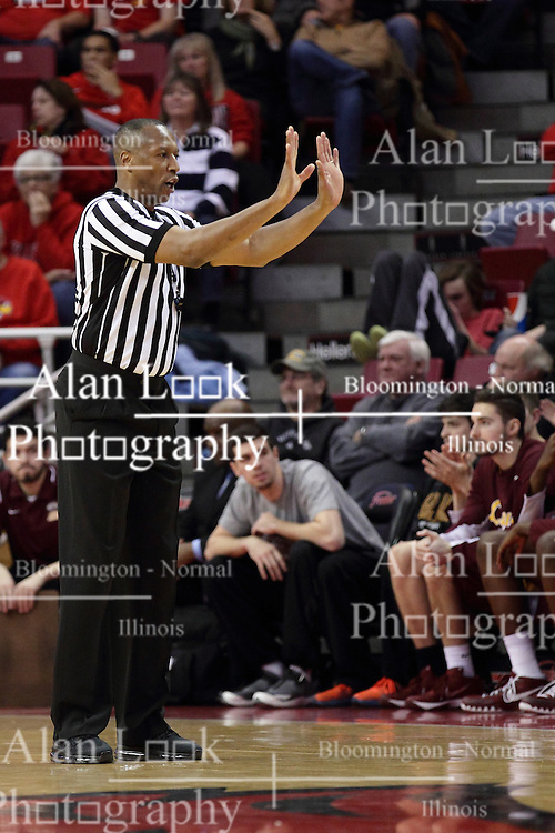 06 January 2016: Roland Simmons calls a shove during the Illinois State Redbirds v Loyola-Chicago Ramblers at Redbird Arena in Normal Illinois (Photo by Alan Look)