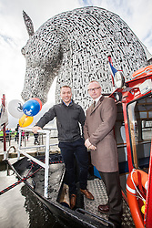 Sir Chris Hoy visits the Kelpies in Falkirk, to celebrate 20 years on from the first National Lottery draw. Pic with sculptor Andy Scott.