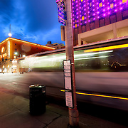 Bus motion blur along 12th Street near Central in front of the Marriott Hotel in downtown Kansas City MO.