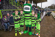 Mascots with the Green Devil during the Vanarama National League match between Forest Green Rovers and Torquay United at the New Lawn, Forest Green, United Kingdom on 1 January 2017. Photo by Shane Healey.