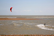 Kite surfing, River Ore, Orford Ness spit, Shingle Street, Suffolk, England