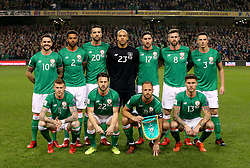 Republic of Ireland players pose for a group photograph before the FIFA World Cup qualifying play-off second leg match at the Aviva Stadium, Dublin.