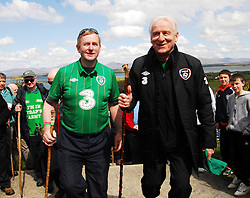 Enda's Trek with Trap's Green Army . An Taoiseach Enda Kenny and Republic of Ireland manager Giovanni Trapptonni at Croagh Patrick, Co Mayo. ..Pic Conor McKeown