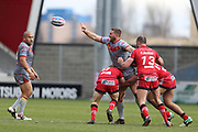 Julian Bousquet for Catalan Dragons off loads the ball during the Betfred Super League match between Salford Red Devils and Catalan Dragons at the AJ Bell Stadium, Eccles, United Kingdom on 30 March 2018. Picture by George Franks.