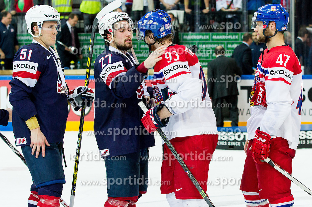 Justin Faulk of USA and Jakub Voracek of Czech Republic after the Ice Hockey match between USA and Czech Republic at Third place game of 2015 IIHF World Championship, on May 17, 2015 in O2 Arena, Prague, Czech Republic. Photo by Vid Ponikvar / Sportida