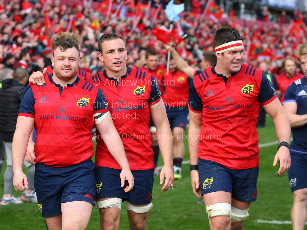 David Kilcoyne, Tommy O'Donnell and Billy Holland of Munster look on. European Rugby Champions cup match, pool one, Munster Rugby v Glasgow Warriors at Thomond Park in Limerick , Ireland on Saturday 22nd October 2016.<br /> pic by  John Halas, Andrew Orchard sports photography.