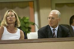MONACO, FRANCE - Friday, August 24, 2001: Bayern Munich's president Franz Beckenbauer with his wife. (Pic by David Rawcliffe/Propaganda)
