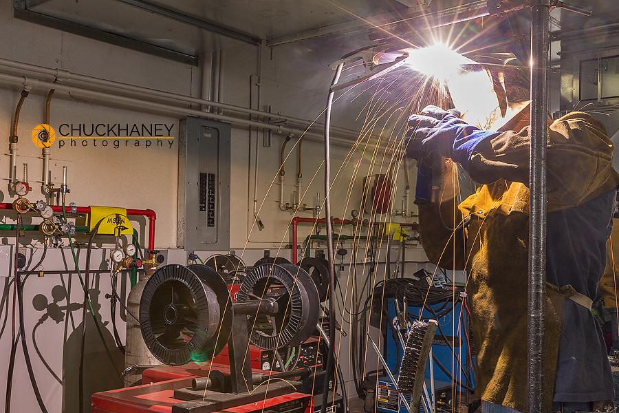 Welding student in the Apprenticeship Program at Northern Montana College in Havre, Montana