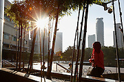 People come and go from the Petronas Twin Tower entrance in the morning of Wednesday April 24th 2013 in Kuala Lumpur, Malaysia. (Photo by Brian Garfinkel)