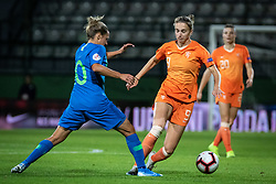 Dominika Čonč of Slovenia and Vivianne Miedema of Nederland  during football match between Slovenia and Nederland in qualifying Round of Woman's qualifying for EURO 2021, on October 5, 2019 in Mestni stadion Fazanerija, Murska Sobota, Slovenia. Photo by Blaž Weindorfer / Sportida
