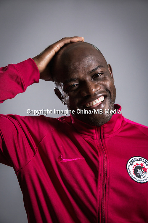 Portrait of Zambian soccer player James Chamanga of Liaoning Whowin F.C. for the 2017 Chinese Football Association Super League, in Foshan city, south China's Guangdong province, 24 January 2017.