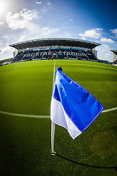The flag on the half-way line at Falkirk Stadium, with the new pitch, for the Scottish Championship game v Hamilton. The woven GreenFields MX synthetic turf and the surface has been specifically designed for football with 50mm tufts compared with the longer 65mm which has been used for mixed football and rugby uses.  It is fully FFA two star compliant and conforms to rules laid out by the SPL and SFL.<br />