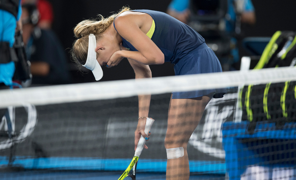 Caroline Wozniacki of Denmark at match point after winning the women's singles championship match during the 2018 Australian Open on day 13 in Melbourne, Australia on Saturday night January 27, 2018.<br /> (Ben Solomon/Tennis Australia)