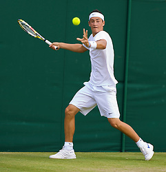 LONDON, ENGLAND - Saturday, June 27, 2009: Bernard Tomic (AUS) during the Boys' Singles 1st Round match on day six of the Wimbledon Lawn Tennis Championships at the All England Lawn Tennis and Croquet Club. (Pic by David Rawcliffe/Propaganda)