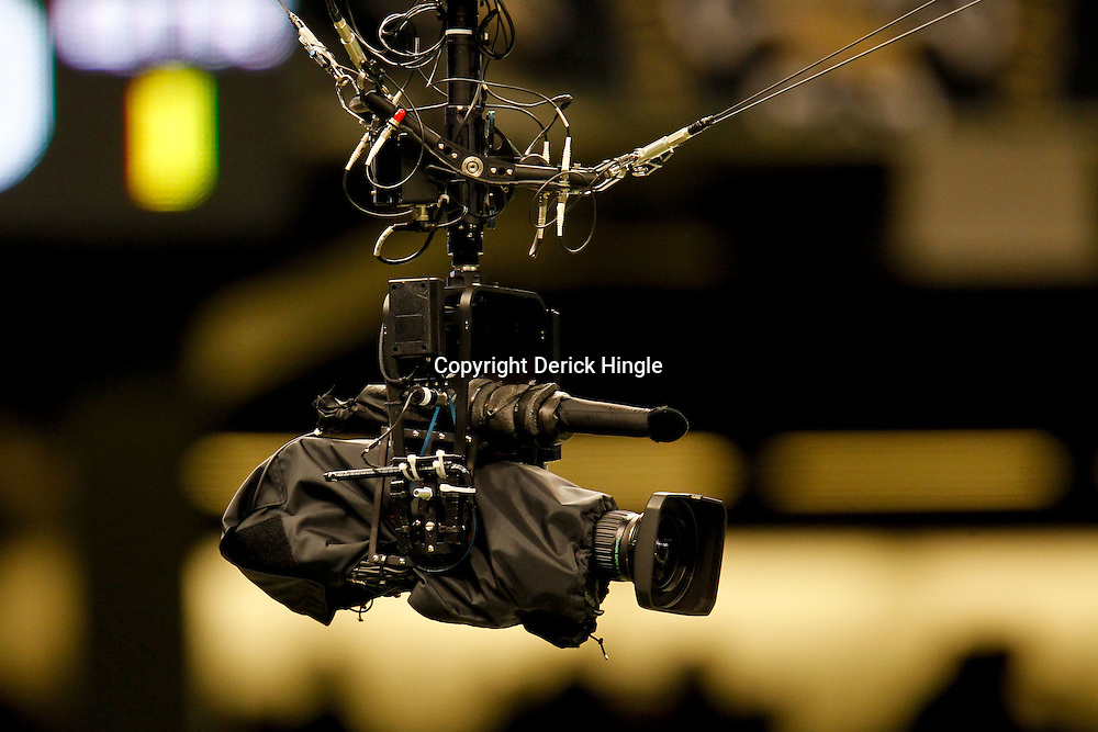 November 28, 2011; New Orleans, LA, USA; A detailed view of a wired overhead television camera prior to kickoff of a game between the New Orleans Saints and the New York Giants at the Mercedes-Benz Superdome. Mandatory Credit: Derick E. Hingle-US PRESSWIRE