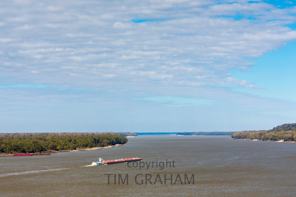 Mississippi River Barge working as bulk carrier transporting cargo at Natchez, USA