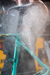 Cleaning the Bianchi bike of Robert Gesink (NED) of Team Jumbo-Visma (NED,WT,Bianchi) during the 2019 Li&egrave;ge-Bastogne-Li&egrave;ge (1.UWT) with 256 km racing from Li&egrave;ge to Li&egrave;ge, Belgium. 28th April 2019. Picture: Pim Nijland | Peloton Photos<br /> <br /> All photos usage must carry mandatory copyright credit (Peloton Photos | Pim Nijland)