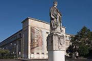 Statue of King Dinnis in Largo D. Dinnis at Coimbra University, Portugal.