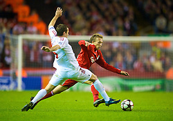 LIVERPOOL, ENGLAND - Wednesday, September 16, 2009: Liverpool's Lucas Leiva in action against Debreceni's during the UEFA Champions League Group E match at Anfield. (Photo by David Rawcliffe/Propaganda)
