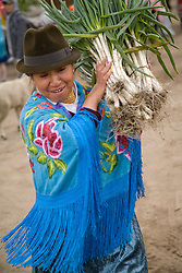 South America, Ecuador, weekly market which draws indigenous people from surrounding villages