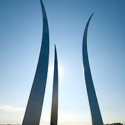 United States Air Force Memorial, Arlington, Virginia. High resolution image. The memorial was dedicated on October 14, 2006 and stands 270 feet high and is visible on the skyline from much of the Washington area. The architect was James Ingo Freed.